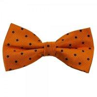 Orange & Navy Blue Polka Dot Silk Bow Tie from Ties Planet UK