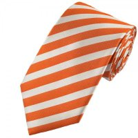 Orange & White Striped Silk Tie from Ties Planet UK