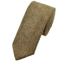 Plain Beige Wool Slim Tie by Profuomo from Ties Planet UK