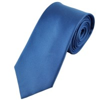 Plain Blue Horizontal Ribbed Silk Tie from Ties Planet UK