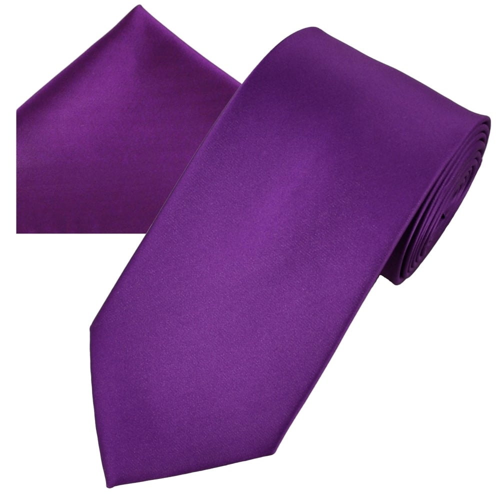 Plain Bright Purple Men's Satin Tie & Pocket Square