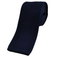 Plain Navy Blue Knitted Tie from Ties Planet UK