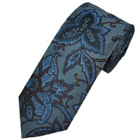 Profuomo Blue & Burgundy Flower Patterned Silk Men's ...