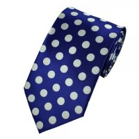 Royal Blue & Silver-White Polka Dot Tie from Ties Planet UK