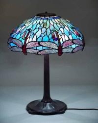 "18"" Hanging head Dragonfly leaded glass Tiffany lamp"