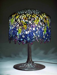 "18"" Wisteria Royal Blue leaded glass & bronze Tiffany lamp ..."