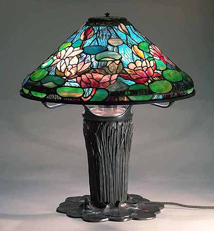 Waterlily Tiffany Lamp & Cattail Lilypad Bronze base
