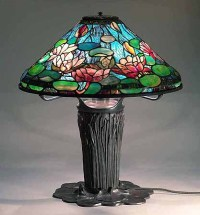 Waterlily Tiffany Lamp & Cattail Lilypad Bronze base
