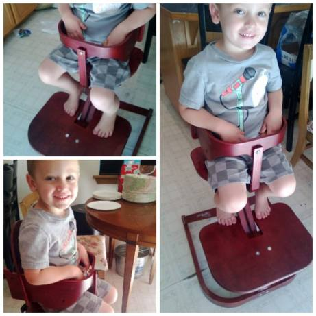 W in the high chair. 3 years old at 40 pounds.