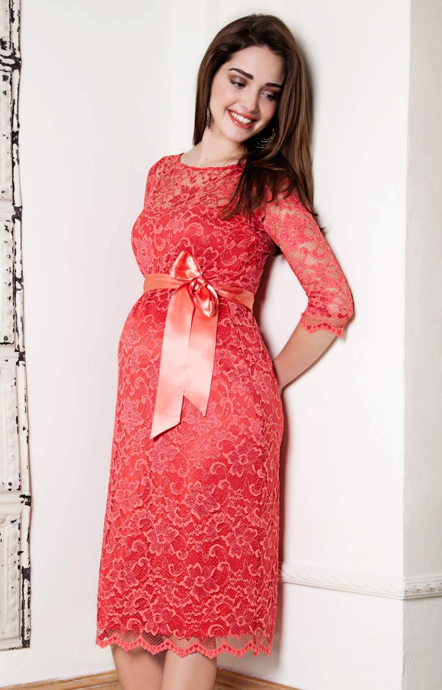 Amelia Lace Maternity Dress Short (Hot Mandarin) maternity wedding guest dresses Amelia Lace Maternity Dress Short Hot Mandarin by Tiffany Rose