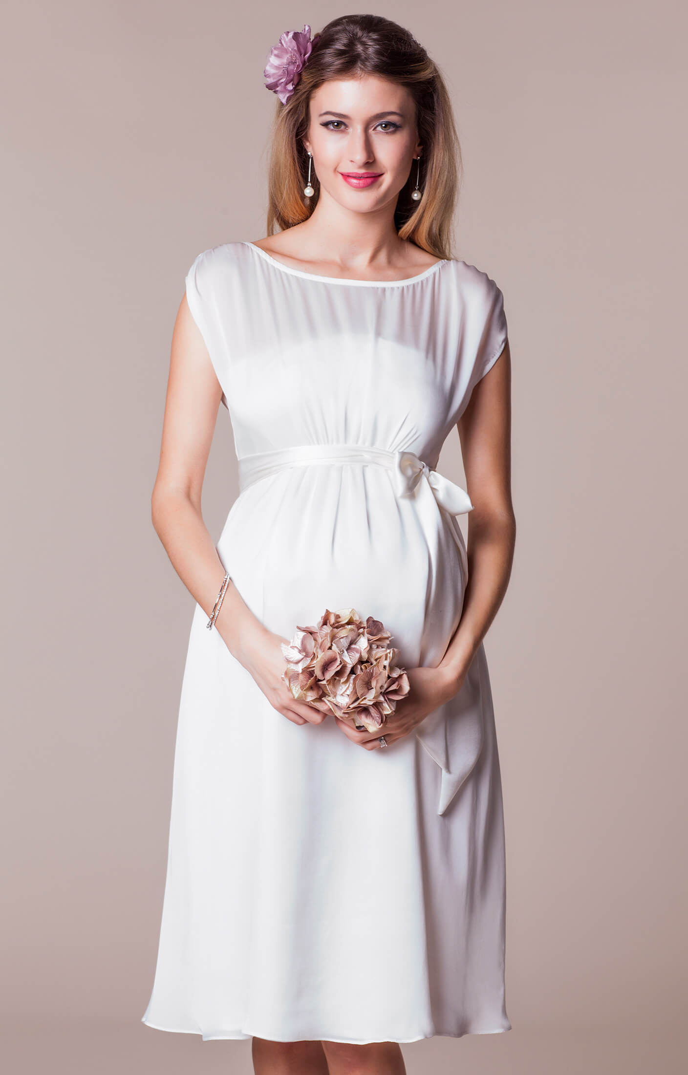 Maya Maternity Wedding Gown Short Ivory short maternity wedding dresses Maya Maternity Wedding Gown Short Ivory by Tiffany Rose