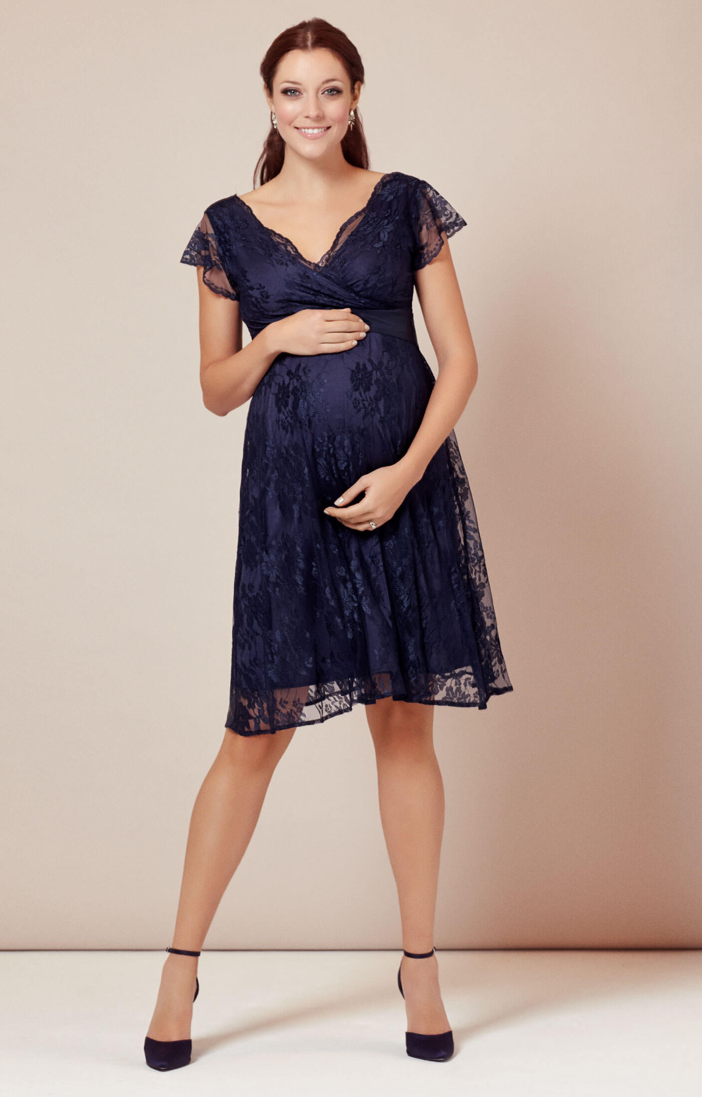 Rosa Maternity Dress Indigo Blue maternity wedding guest dresses Eden Maternity Gown Short Arabian Nights