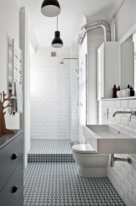 white bathroom with grey floor tiles