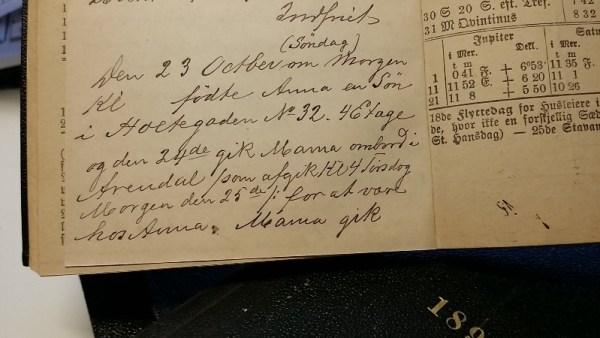 Dagboknotatet om barnebarnet Gerhard sin fødsel i 1892
