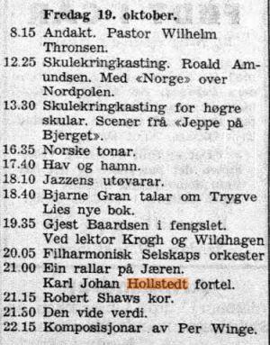 Program fra Hordaland avis i 1954