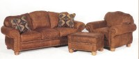 Distressed Leather Sofa, Chair and Ottoman