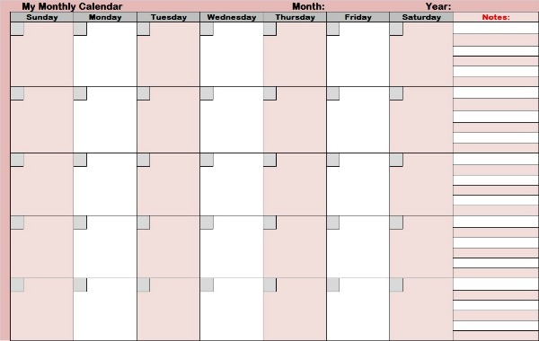 Blank Monthly Calendars For Planning The Whole Month