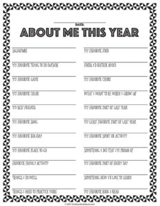 High School Time Capsule Questionnaire Printable