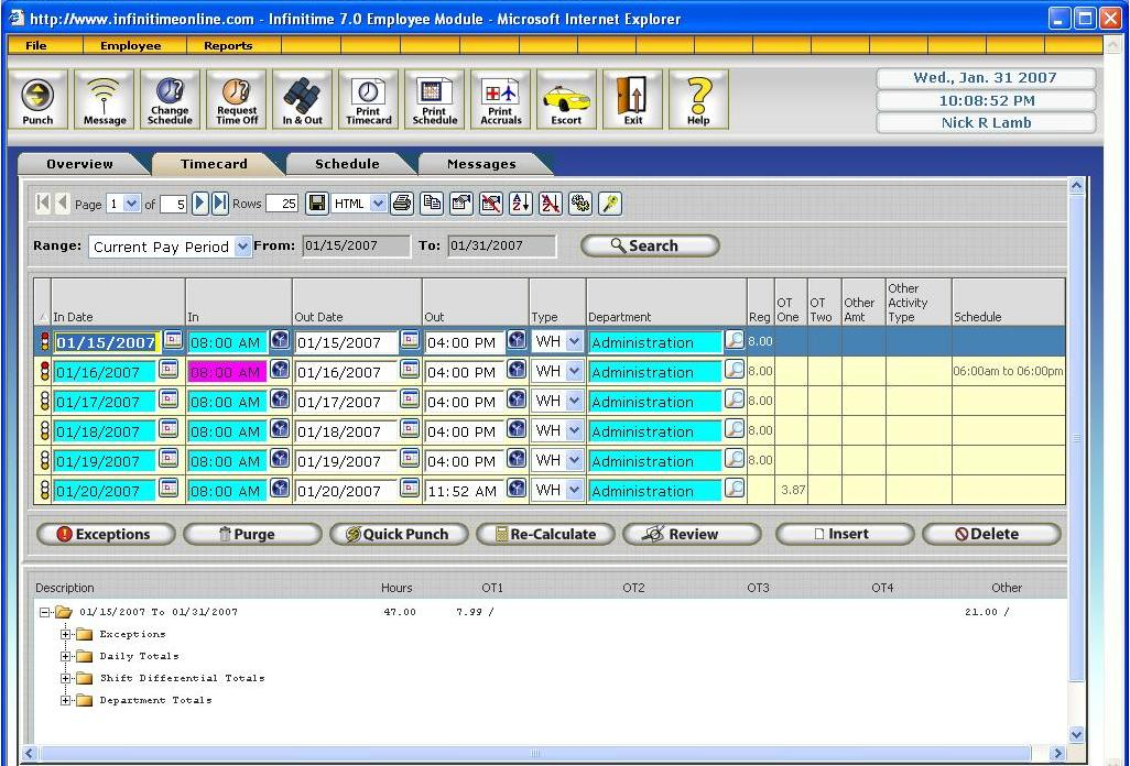 InfiniTime Web Time Clock Software - employee time card