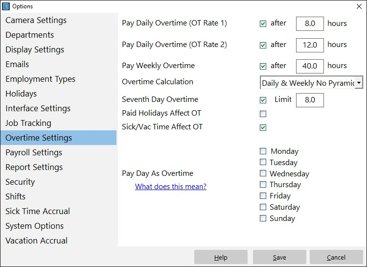 Overtime Calculations in Time Clock MTS - payroll hours calculator