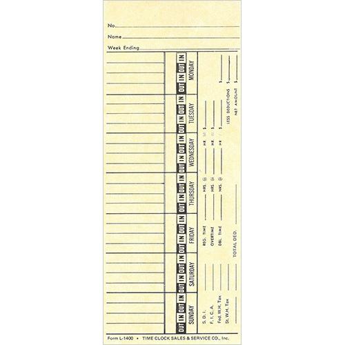 L1400 Time Cards/1000 per box TimeClockSales