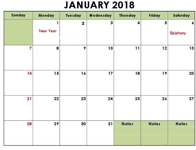 January 2018 Calendar - Printable Calendar Templates