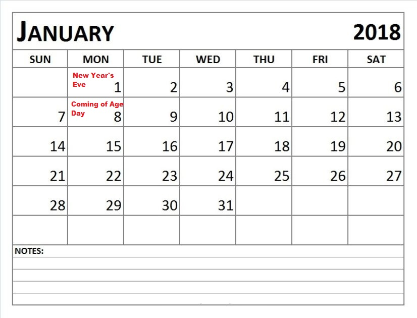 Japanese Calendar 2018 January - Free Printable Template Download