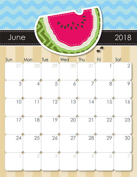 June 2018 Calendar Printable Template with Holidays