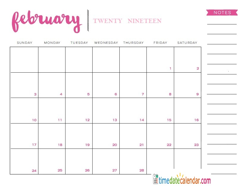 February 2019 Calendar - Free Printable Template Download