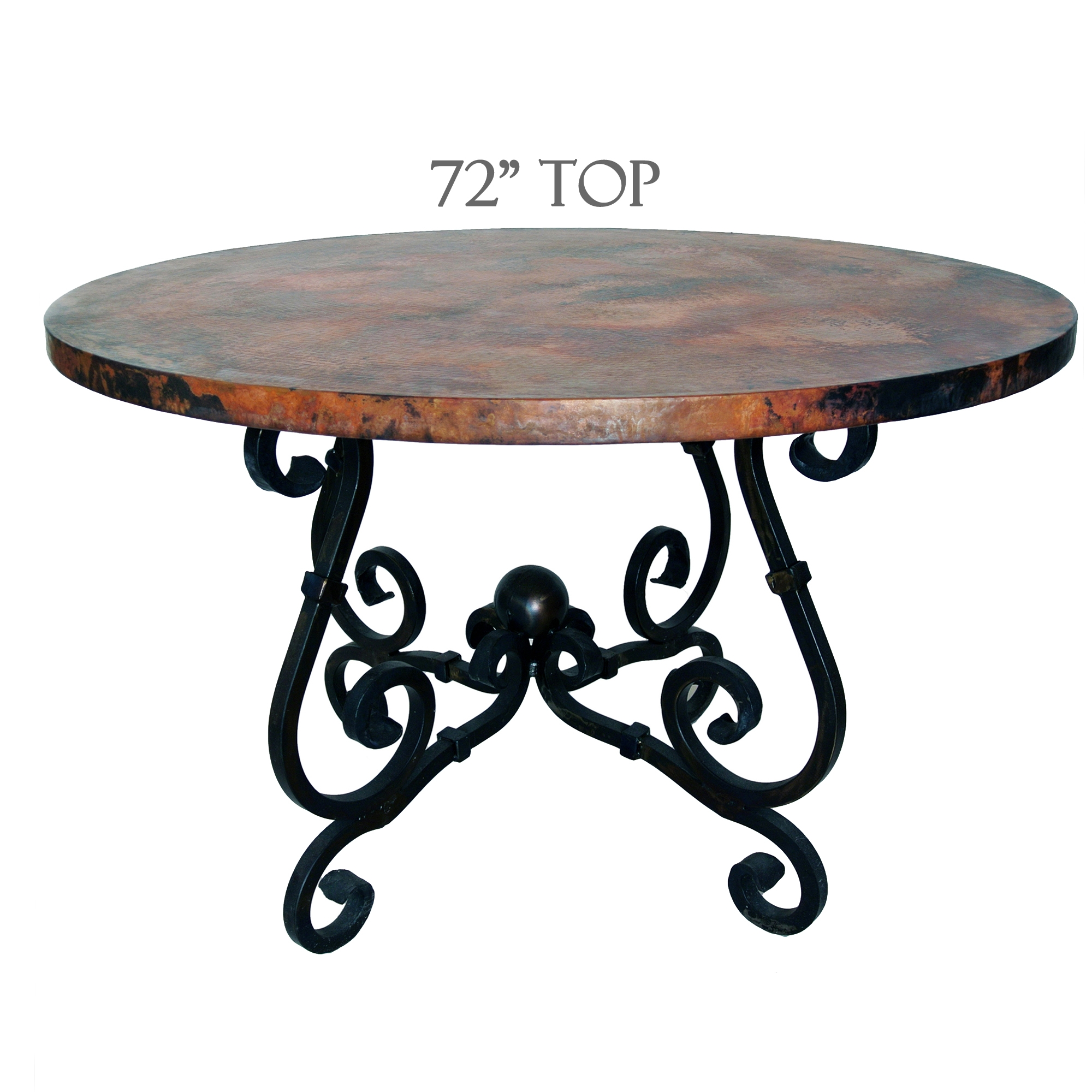 French Dining Table 72in Diameter Copper Top Timeless