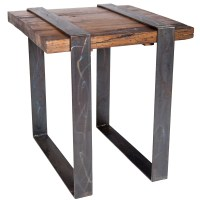 Jackson Iron End Table with Steel Strap Legs and Reclaimed ...