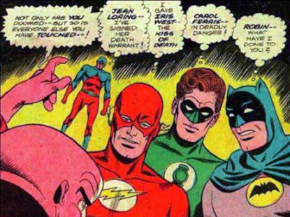 image of the atom, flash, green lantern and batman
