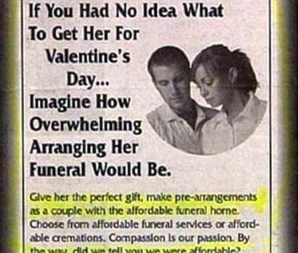 Valentines Advert For Pre-Arranged Funeral