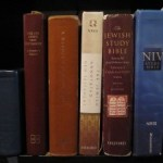 My bookshelf- Quad, UBS Greek NT, Reader's Edition of the Hebrew Bible, Jewish Annotated NT, Jewish Study Bible, NIV Study Bible