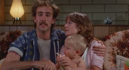 "Nicholas Cage and Holly Hunter in ""Raising Arizona""."