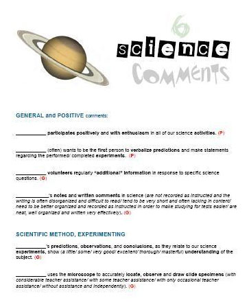 Report Card Comments Science Timesavers for Teachers - merit certificate comments