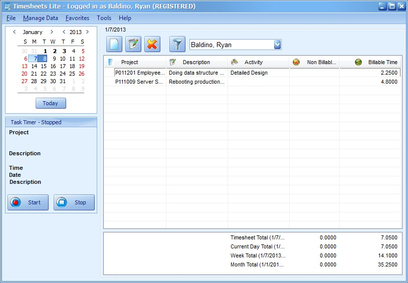 Free timesheet software, free DVD Collection software - Timesheets
