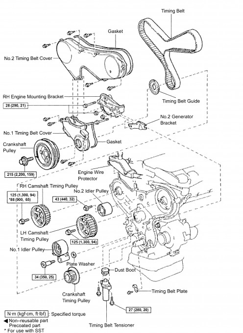 diagram for timing belt and timing marks 1999 lexus es 300