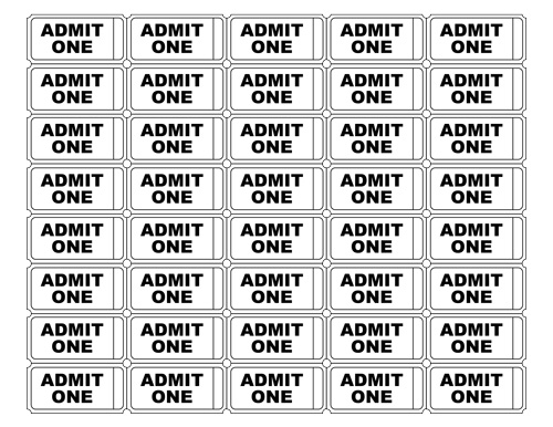 Free Printable Admit One Ticket Templates - Blank Downloadable PDFs - blank tickets template