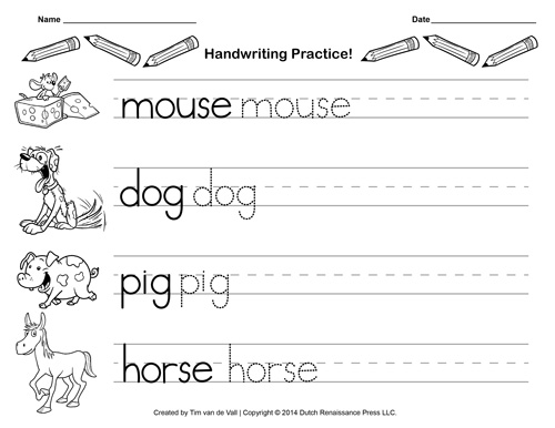 Free Handwriting Practice Paper for Kids Blank PDF Templates - blank writing sheet
