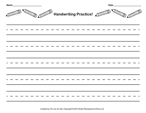 Free Handwriting Practice Paper for Kids Blank PDF Templates - Printing Paper Template