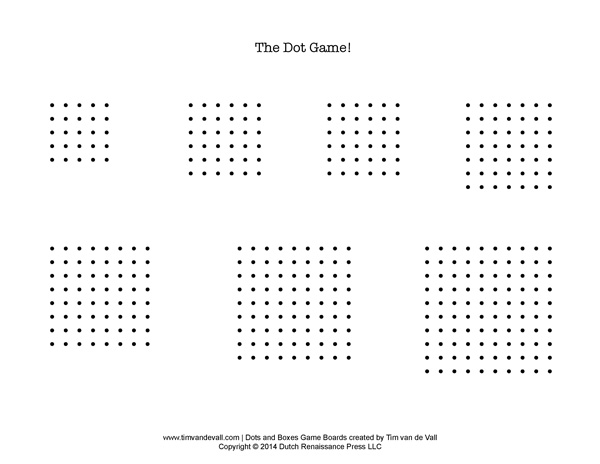 Free Printable Dots and Boxes Game Boards Play the Dot Game - dot paper template