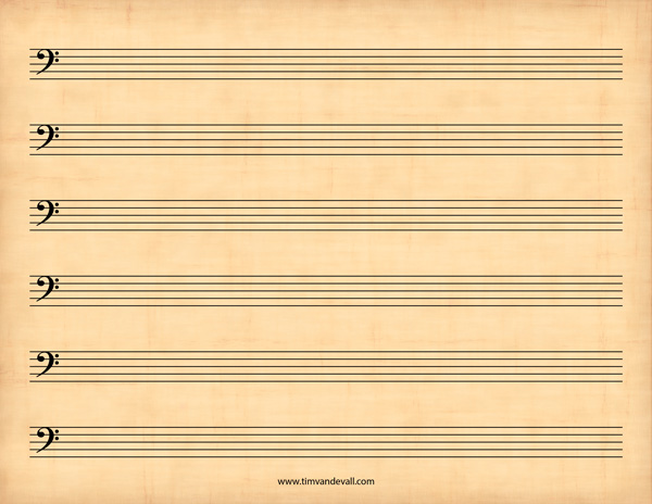 Blank Bass Clef Staff Paper Printable Sheet Music PDF - bass cleff sheet music