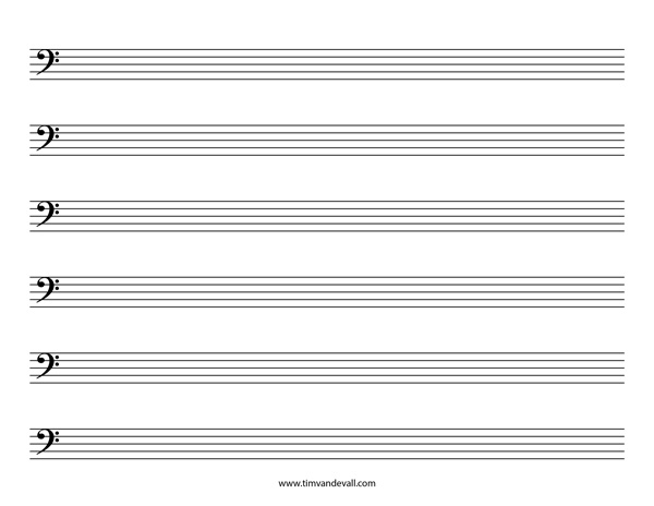Blank Bass Clef Staff Paper Printable Sheet Music PDF - bass cleft sheet music
