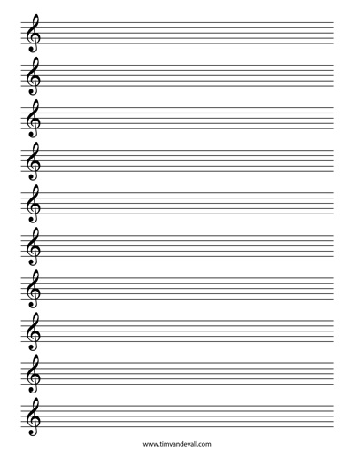 Blank Treble Clef Staff Paper Free Sheet Music Template PDF - music staff paper template
