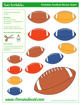 Printable Football Template Shapes for a Football Party
