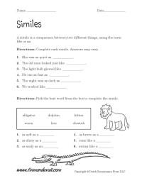 Similes Worksheet 01 - Tim's Printables