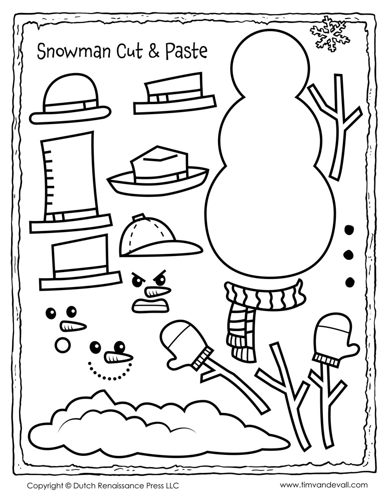 Free snowman clipart, template  printable coloring pages
