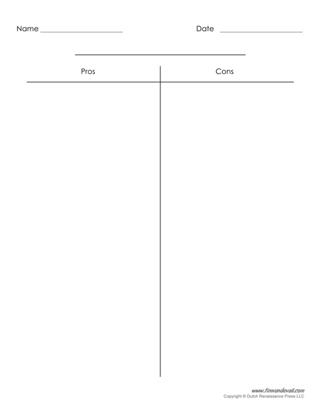 Blank T-Chart Templates Printable Compare and Contrast Chart PDFs - Blank Chart Templates