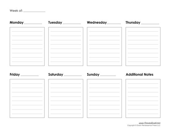 Printable Weekly Calendar Template - Free Blank PDF - calendar template pdf